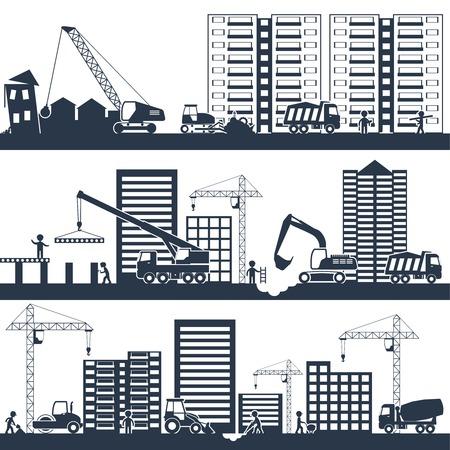 maquinaria: Construcci�n composici�n industrial negro con maquinaria de construcci�n y las personas que trabajan ilustraci�n vectorial