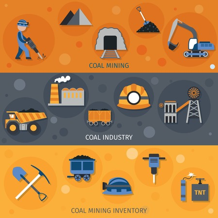 COAL MINER: Coal industry horizontal banners set with mining inventory elements isolated vector illustration