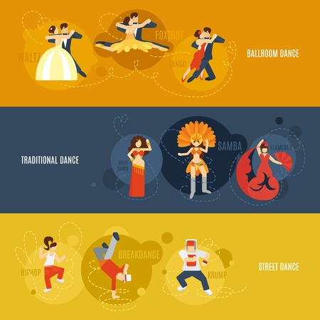 jive: Dancing flat horizontal banner set with street ballroom traditional dance elements isolated vector illustration