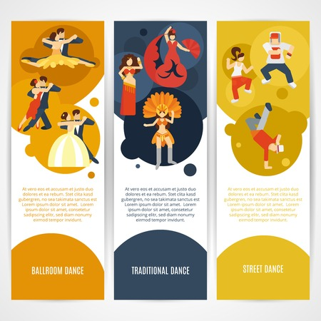 jive: Dancing styles flat vertical banner set with ballroom street traditional elements isolated vector illustration