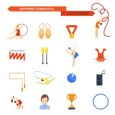 gymnastics sports: Rhythmic gymnastics icon flat set with female athletes with balls and bands isolated vector illustration