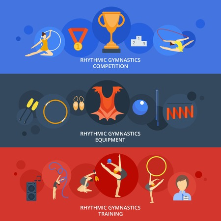acrobat gymnast: Rhythmics gymnastics flat horizontal banner set with competition equipment training elements isolated vector illustration