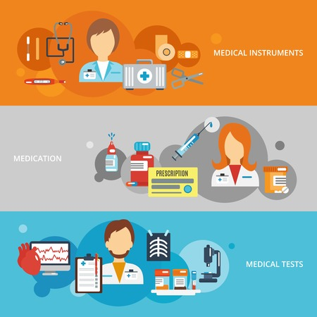 patients: Doctor flat banner set with medical instruments medication tests elements isolated vector illustration Illustration