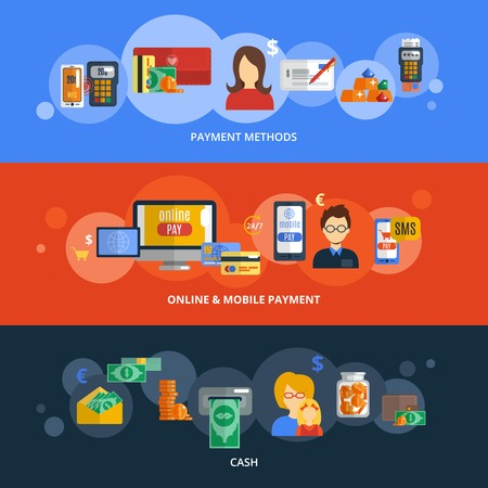 method: Payment flat banner set with cash online and mobile methods elements isolated vector illustration