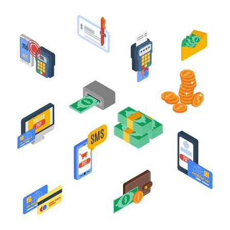 method: Payment icons isometric money financial commerce 3d elements set isolated vector illustration