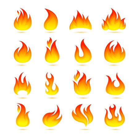 Fire campfire bonfire hot flame curls icons set isolated vector illustration Vector