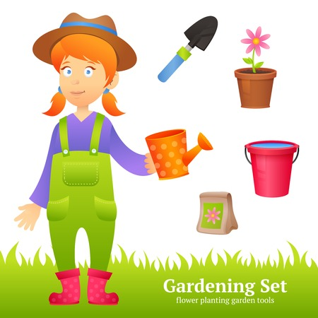 coverall: Farmer woman with decorative gardening icons set vector illustration
