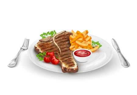 Grilled steak on plate with potato chips vegetables knife and fork vector illustration