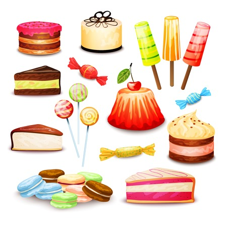 layered: Sweet food set with layered cake ice cream candy isolated vector illustration