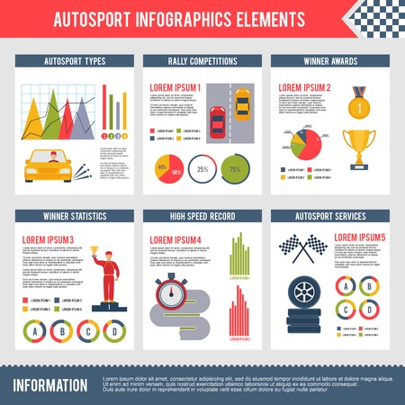 bolide: Auto sport infographics set with bolide trophy flag automobile competition charts vector illustration Illustration