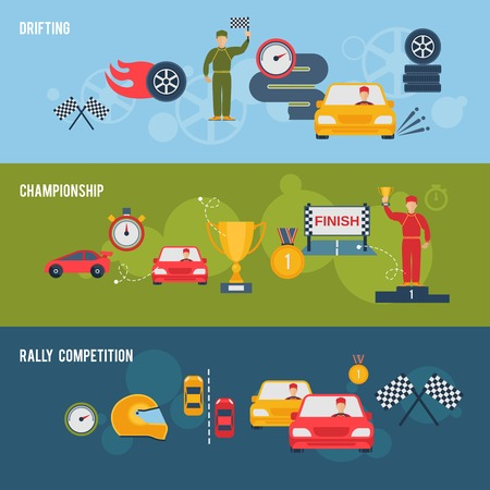 rally: Auto sport flat banner set with drifting championship rally competition isolated vector illustration Illustration