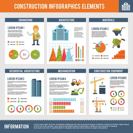 Construction infographics set with engineering architecture materials and charts vector illustration