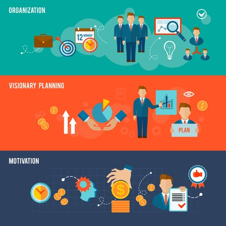 visionary: Management horizontal flat banner set with organization visionary planning motivation elements isolated vector illustration