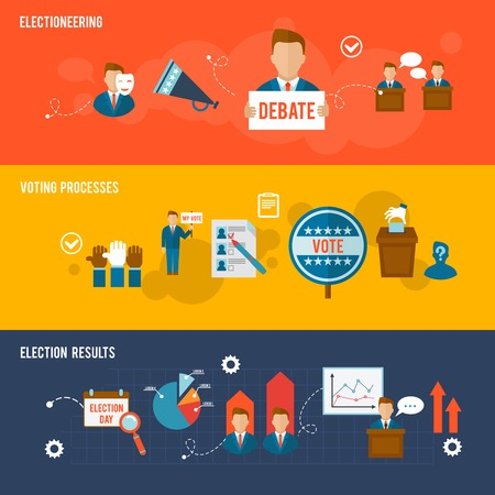 vote: Election horizontal banner flat set with votes counting elements isolated vector illustration