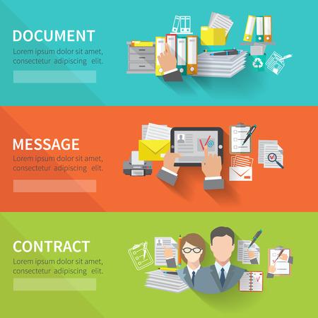 document management: Documentar banner horizontal plana conjunto con elementos de contrato mensaje aislado ilustraci�n vectorial
