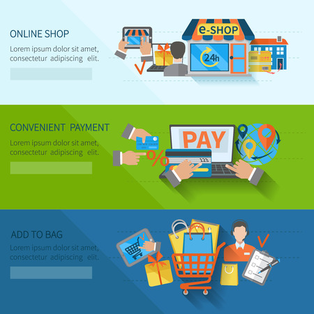on line shopping: Shopping e-commerce horizontal flat banners set with online convenient payment elements isolated vector illustration Illustration