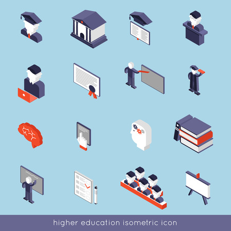 higher: Higher education isometric icons set with book student teacher symbols isolated vector illustration