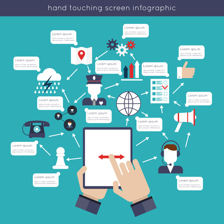 global innovation: Hand touching tablet screen infographics set with social media icons vector illustration Illustration