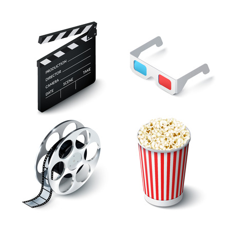 filmstrip: Cinema realistic set with 3d glasses clapperboard filmstrip and popcorn isolated vector illustration