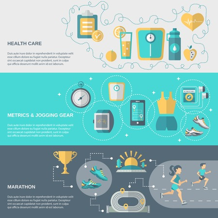 metrics: Jogging banner horizontal set with health care metrics marathon elements isolated vector illustration