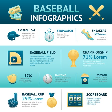 baseball glove: Baseball infographics set with cup field championship scoreboard symbols vector illustration