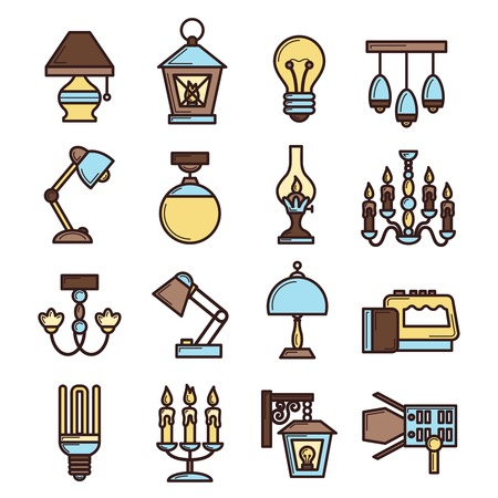 streetlight: Light icon set with lightbulb fluorescent electric lamps and candles isolated vector illustration