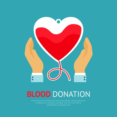 donate: Blood donation poster with hands holds transfusion equipment in heart shape vector illustration