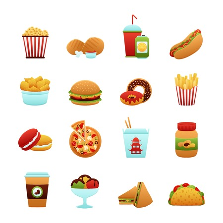fried noodles: Fast food icon set with donut soda potato chips pizza isolated vector illustration