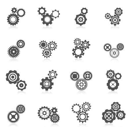 Cog mecánico engranaje de la rueda y la ingeniería icono negro conjunto aislado ilustración vectorial Ilustración de vector