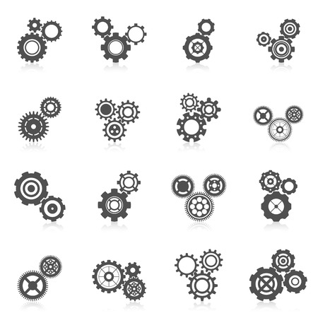 herramientas de mecánica: Cog mecánico engranaje de la rueda y la ingeniería icono negro conjunto aislado ilustración vectorial Vectores