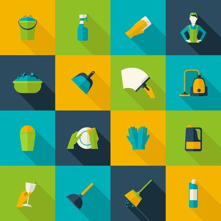 Cleaning icon flat set isolated with windows dishes floor washing isolated vector illustration Vector