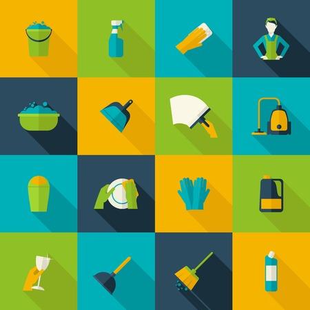 wash dishes: Limpieza de conjunto de iconos plana aislada con ventanas aisladas lavado platos piso ilustración vectorial