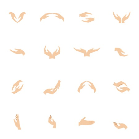 gesticulation: Human hand hold and protect gestures flat icons set isolated vector illustration
