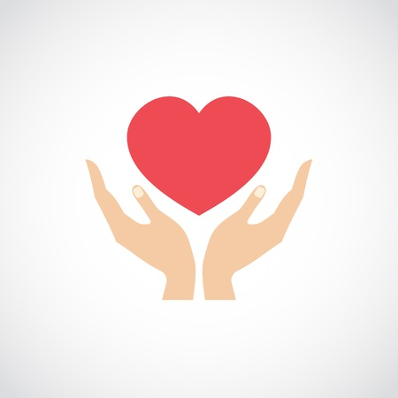 Human hands holding and protect red heart love and health symbol vector illustration Ilustração