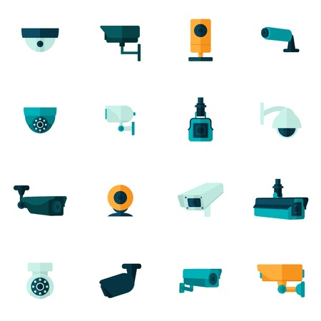 business crime: Security camera electronic video monitoring icon flat set isolated vector illustration