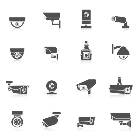 the guard: Security camera private safety security control electronic black icons set isolated vector illustration