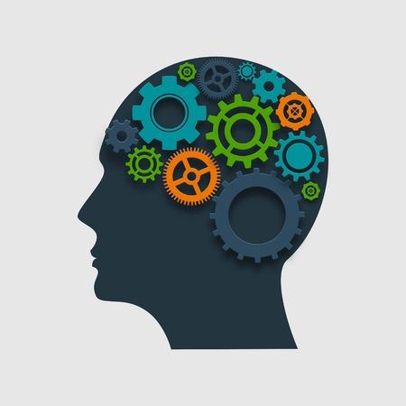 プロセス概念ベクトル図を考えて内部のギアと人間の頭プロファイル シルエット