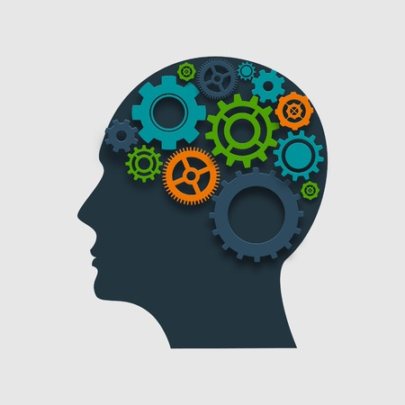 contemplate: Human head profile silhouette with gears inside thinking process concept vector illustration