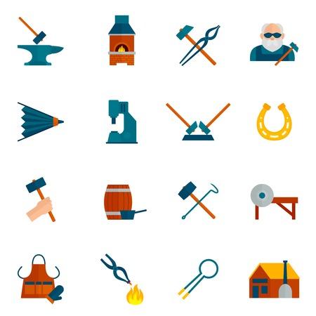 blower: Blacksmith icon flat set with hammer blower fireplace horseshoe isolated vector illustration
