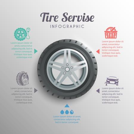 Elementos infográficos en neumáticos ruedas de servicios profesionales de instalación establece la ilustración vectorial