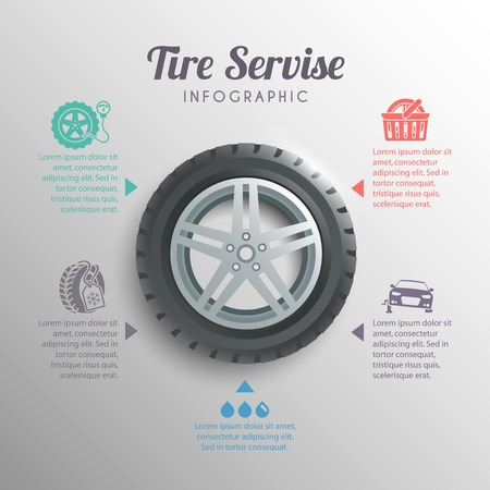 winter car: Tire service professional wheels installation service infographic elements set vector illustration