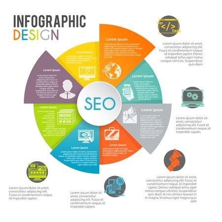 contextual: Seo infograf�a marketing en Internet fijados con s�mbolos de optimizaci�n de b�squeda en la web de la empanada gr�fico ilustraci�n vectorial