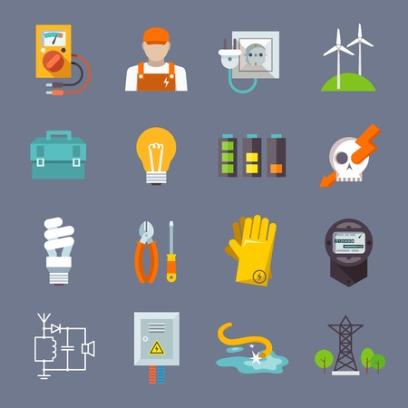 Electricity icon flat set with multimeter electrician socket pylon isolated vector illustration Illustration