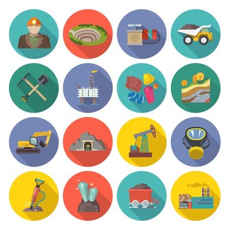 Mijnbouw iconen platte set met geïsoleerde mijnwerker hamer vrachtwagen bulldozer vector illustratie