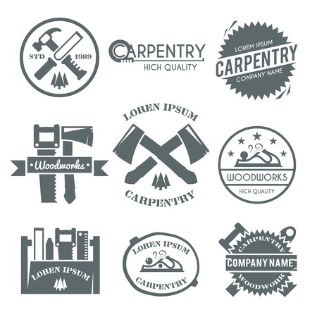 Carpentry black label set with work tools carpenter fix kit toolbox isolated vector illustration Çizim