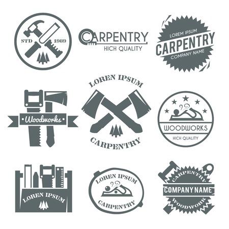 herramientas de carpinteria: Etiqueta negro Carpinter�a establece con aislados kit fix herramientas de trabajo carpintero caja de herramientas de ilustraci�n vectorial Vectores