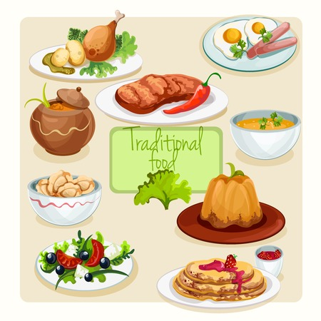 dinner date: Traditional food dishes set with greek salad fried eggs chicken leg isolated vector illustration Illustration