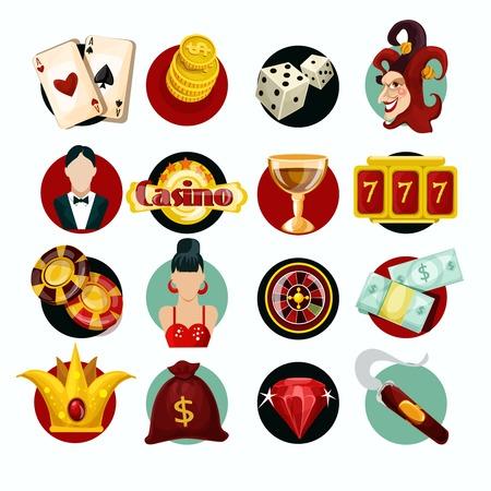 maquinas tragamonedas: Iconos del casino fijados con aislados m�quina tragaperras jocker cigarro ruleta ilustraci�n vectorial Vectores