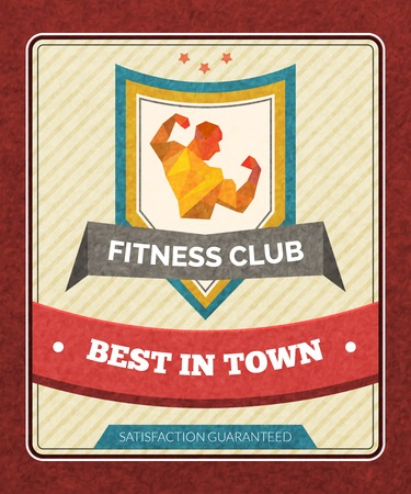 sport club: Fitness sport club poster with polygonal male bodybuilder figure vector illustration