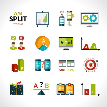 b: A-b testing seo sample comparison research icons set isolated vector illustration